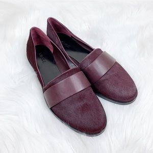 Vince Burgundy Calf Hair and Leather Loafer Flats